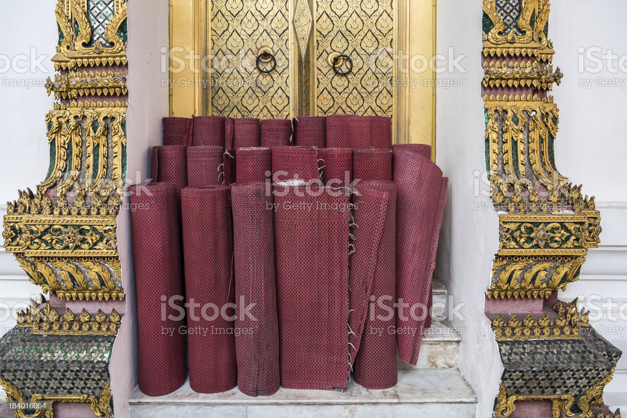 Thai style mat in a Buddhist temple royalty-free stock photo