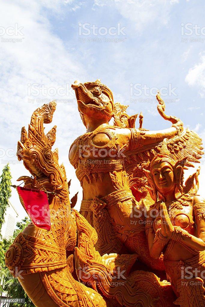 Thai style molding art in Candle Festival at Ubonratchathani royalty-free stock photo