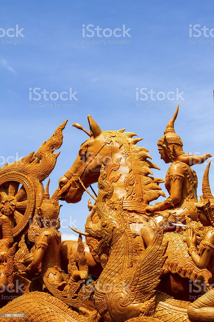 Thai style molding art in Candle Festival at Ubonratchathani royalty-free stock photo