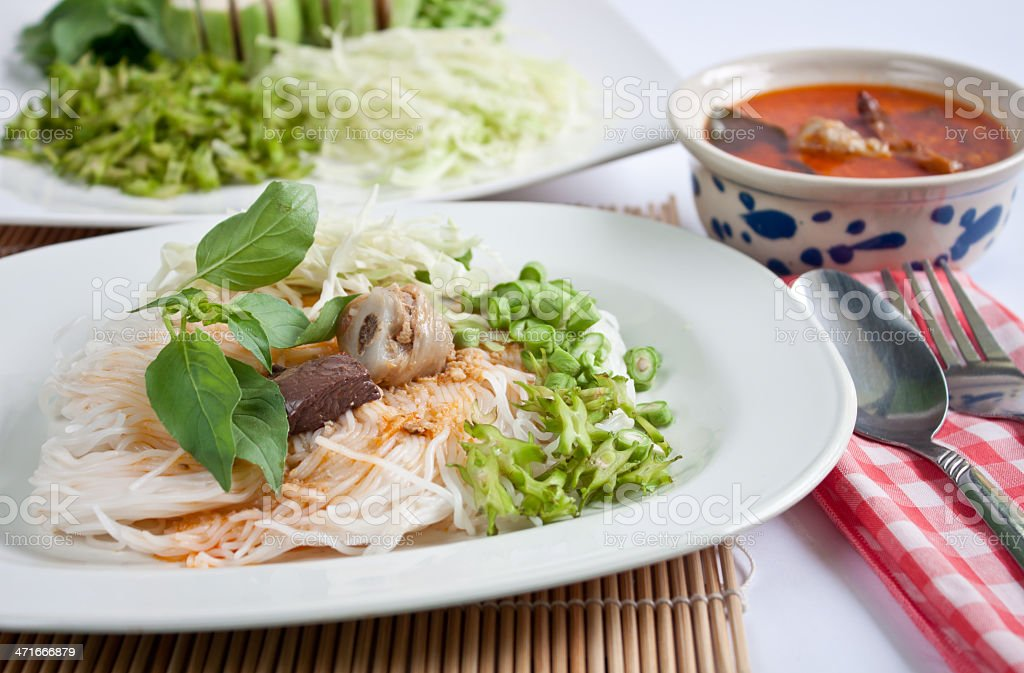 Thai style noodle eaten with curry stock photo