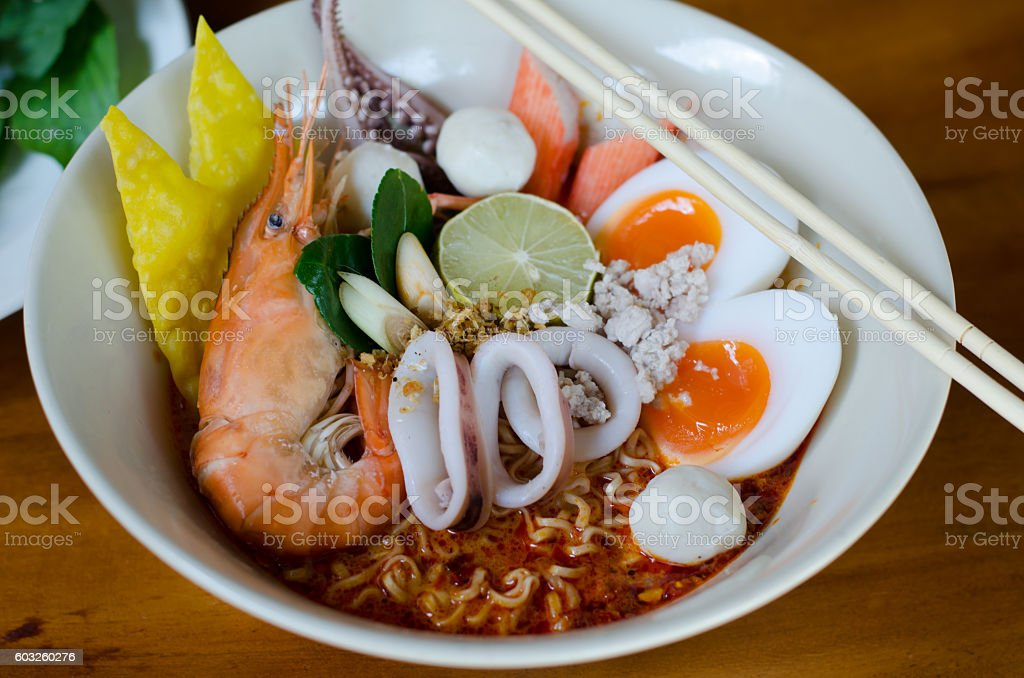 Thai style noodle, tom yum kung stock photo
