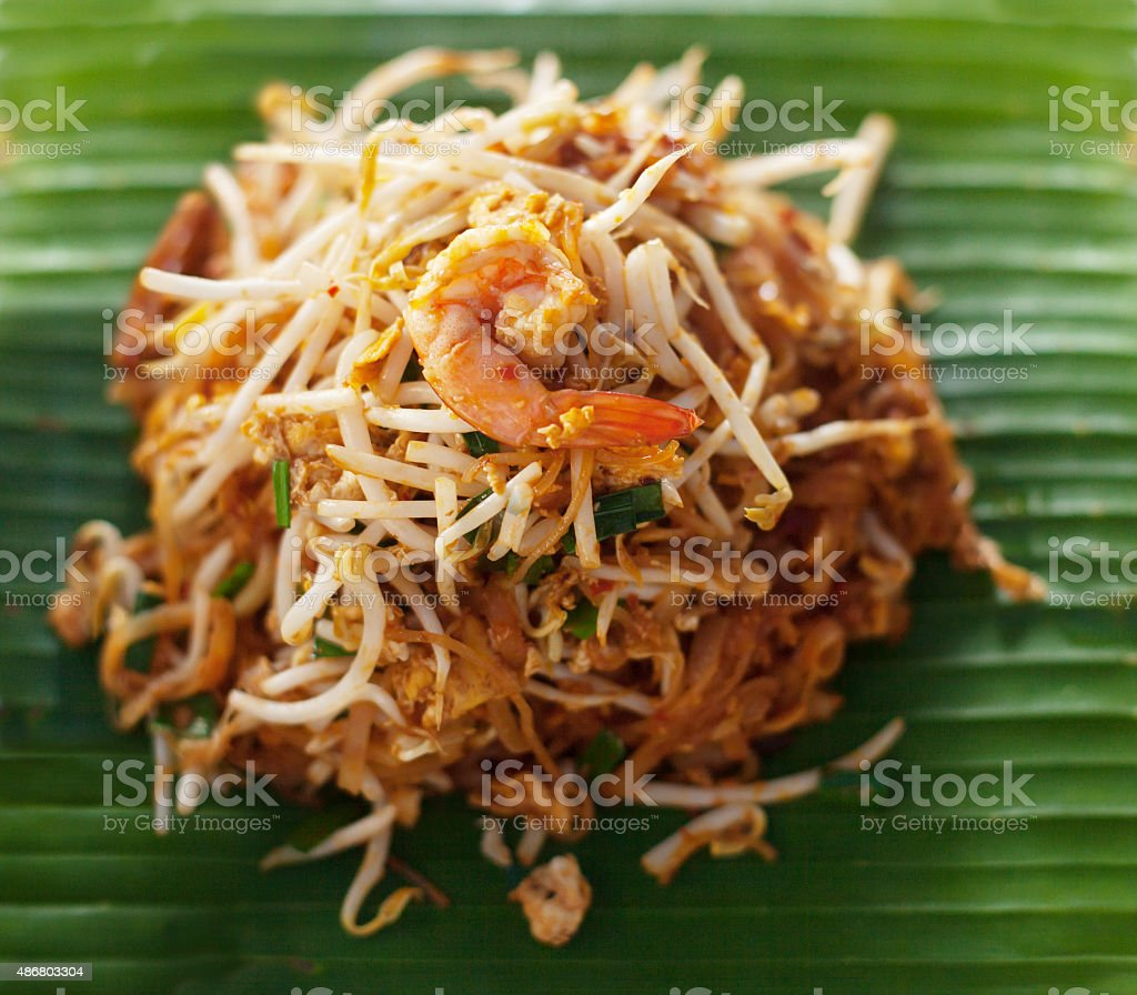 Thai style noodles padthai ,Delicious food on the banana leaf stock photo