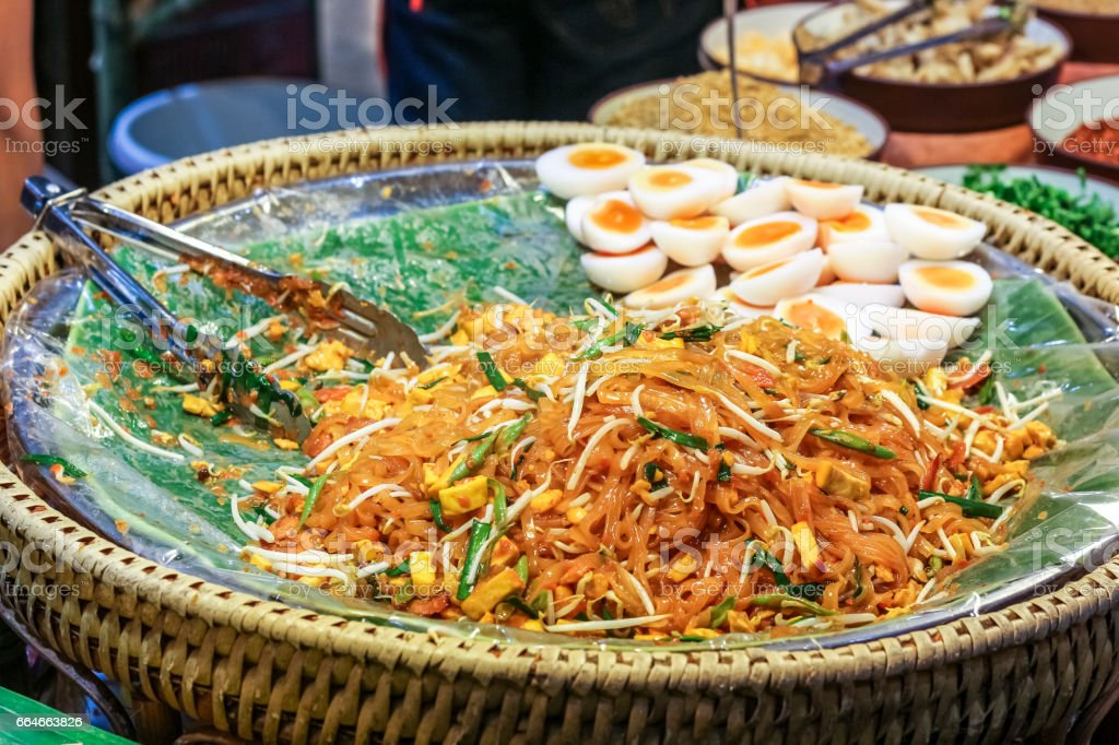 Thai style padthai noodle with boiled egg stock photo