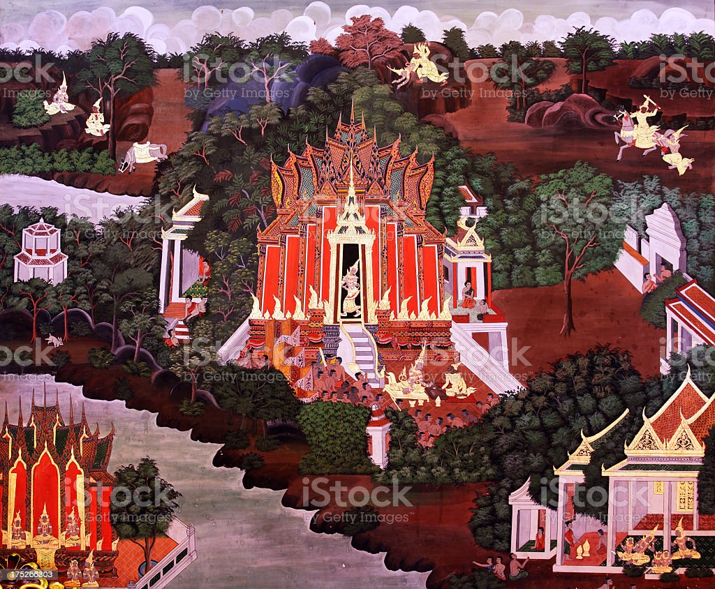 Thai style painting on wall of Wat Phra Phanan Choeng royalty-free stock photo