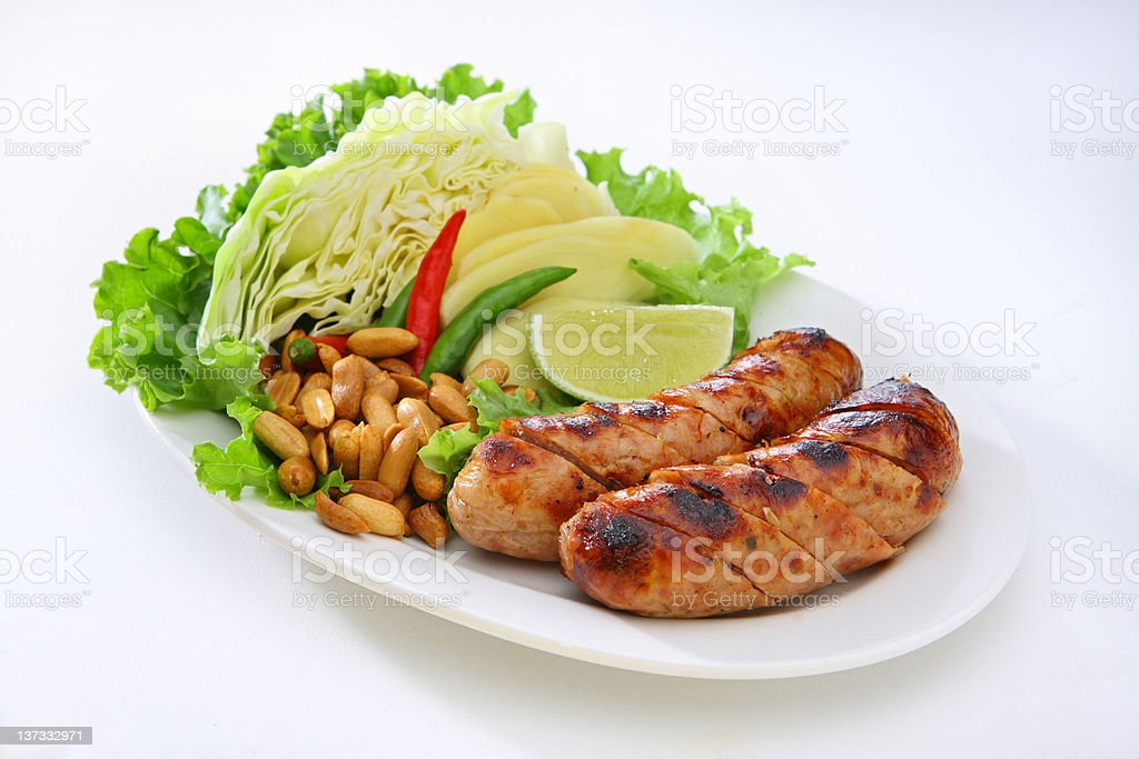 Thai Style Sausage (Sai Kork Isan) royalty-free stock photo