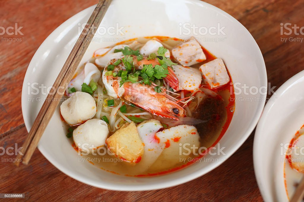 Thai style seafood noodle stock photo