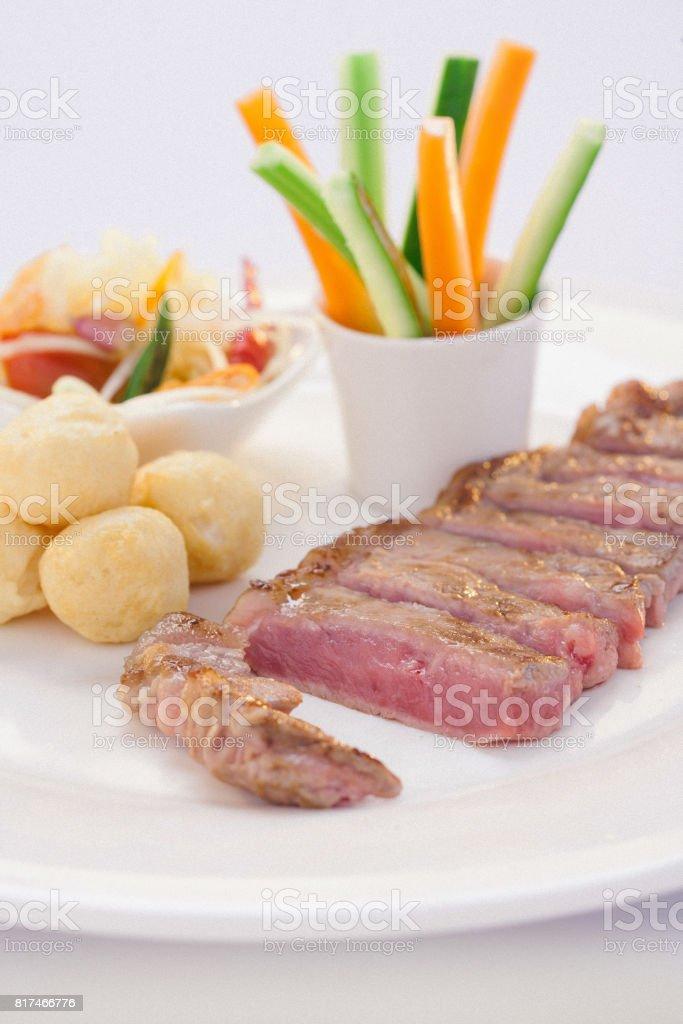 Thai style sirloin grilled stock photo
