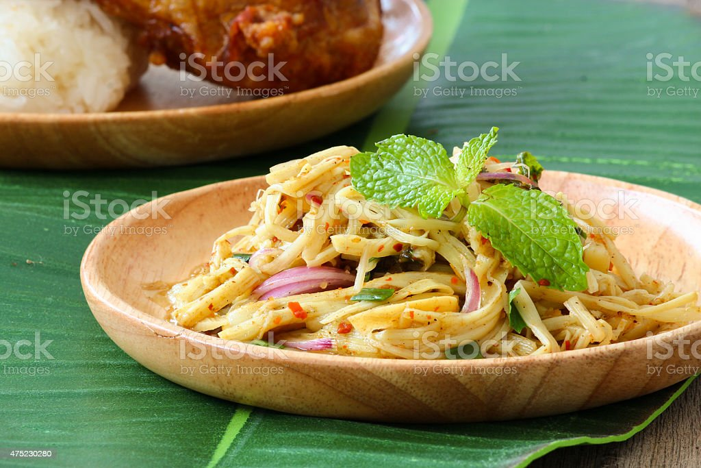 Thai style spicy bamboo pickle shoot salad stock photo