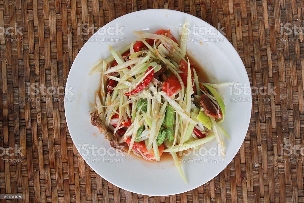 Thai style spicy food, Som Tum Thai. stock photo
