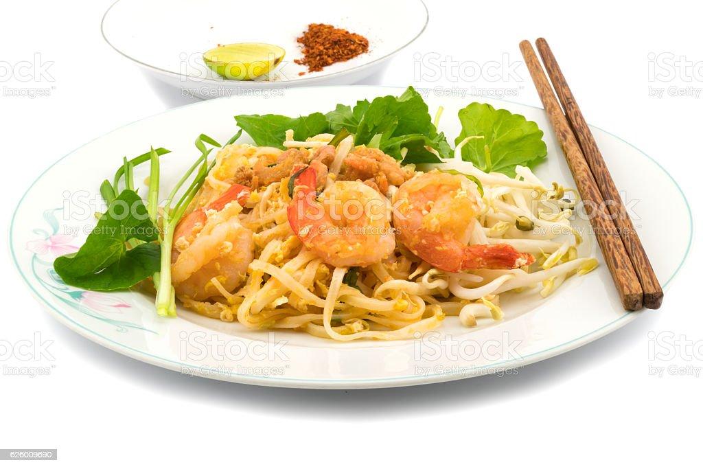 Thai style stir fried rice noodles stock photo