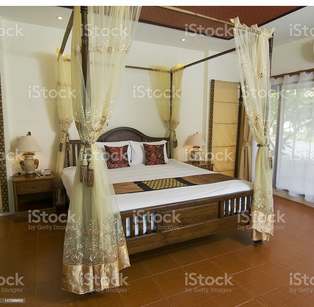 Thai style tropical bedroom royalty-free stock photo