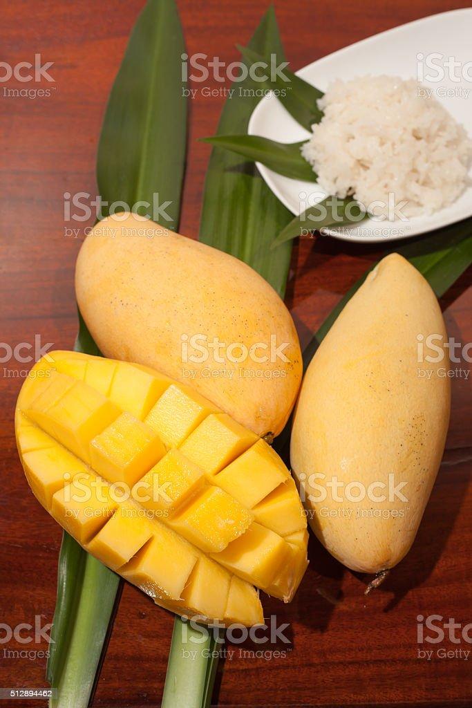 Thai style tropical dessert and glutinous rice stock photo