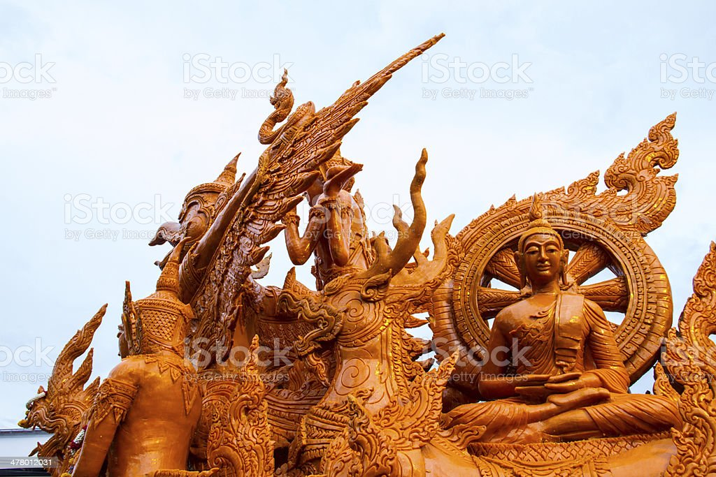 Thai style wax angel statue in Candle Festival, Ubonratchathani, Thailand royalty-free stock photo