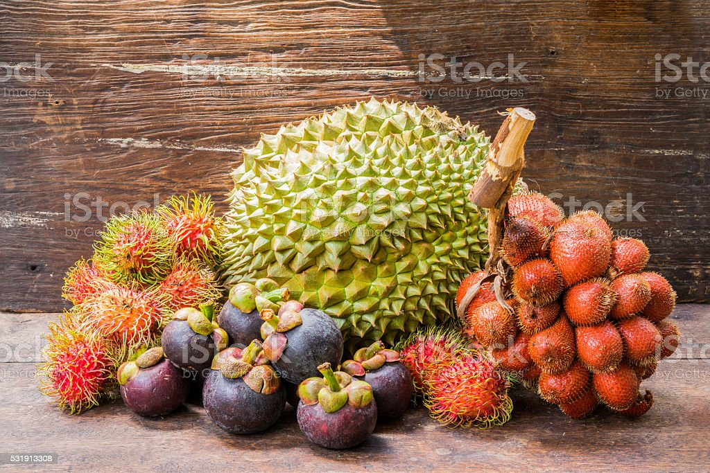Thai summer fruits stock photo