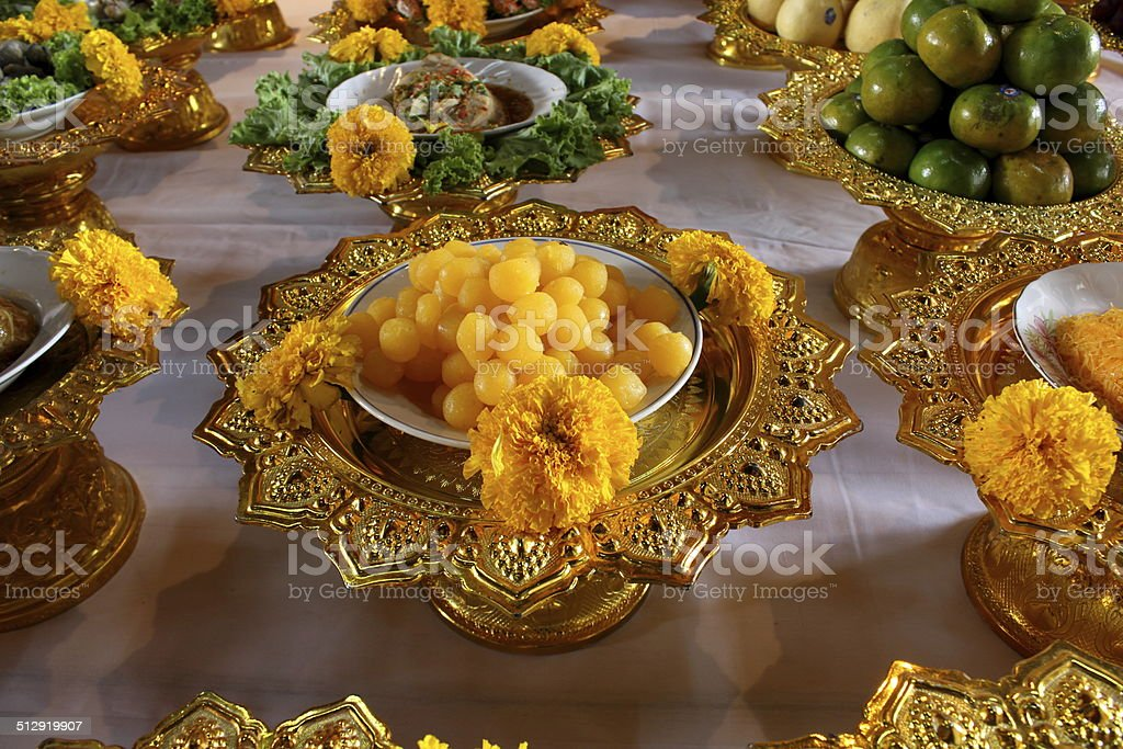 Thai sweet dessert for the monks. stock photo