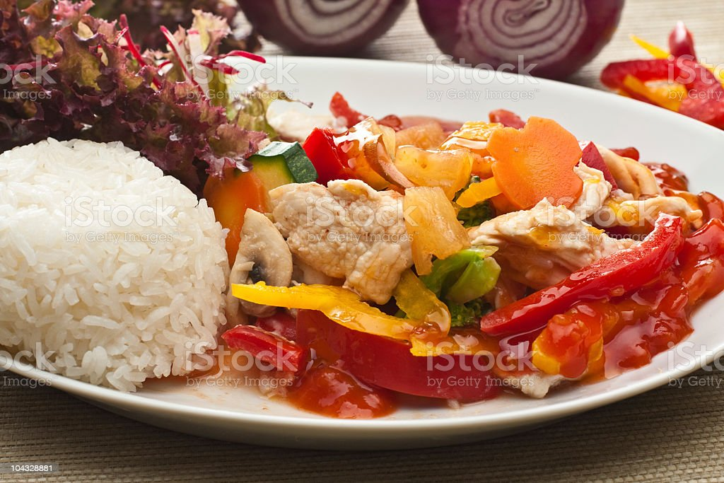 thai sweet sour chicken stock photo