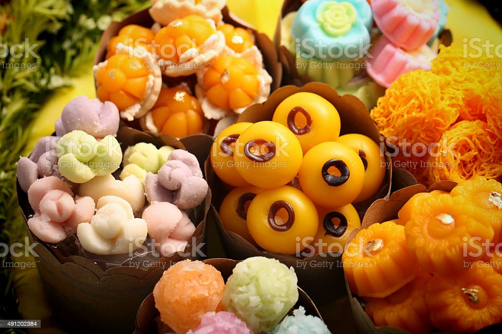 Thai sweets Khanom Thai, have unique, colorful appearance distinct flavors. stock photo