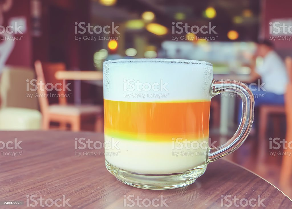 Thai tea cup on a table stock photo