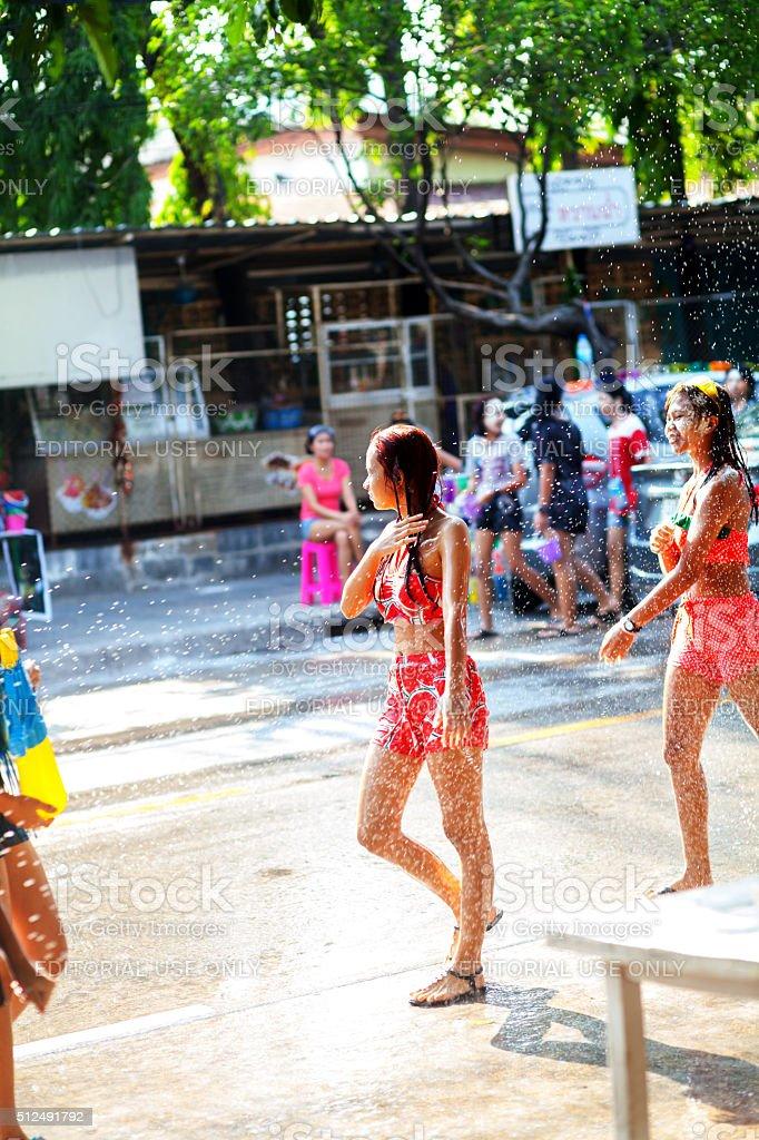 Thai teenagers at Songkran stock photo
