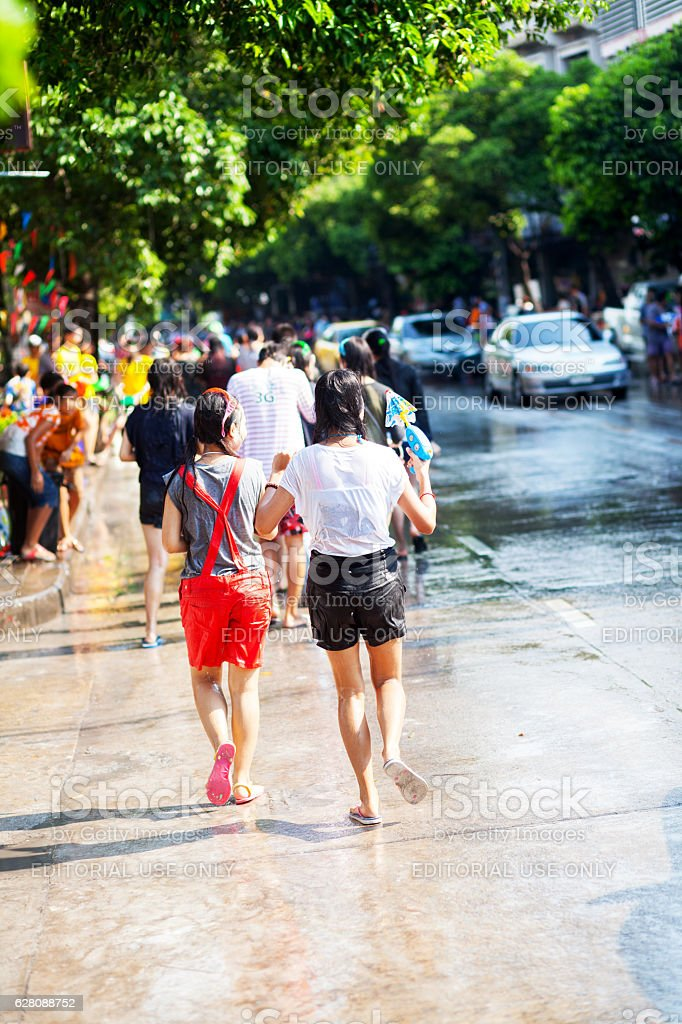 Thai teens at Songkran stock photo