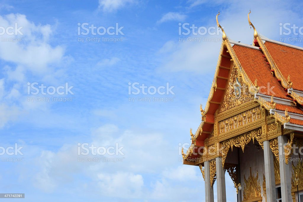 Thai Temple and blue sky royalty-free stock photo