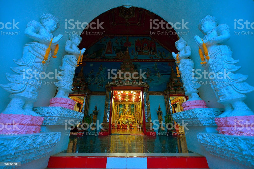 Thai temple, culture of buddhism, Wat Sanpayang luang, Lamphun, royalty-free stock photo