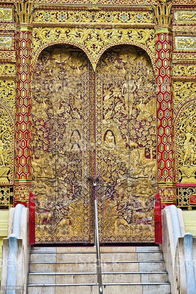 Thai temple door royalty-free stock photo