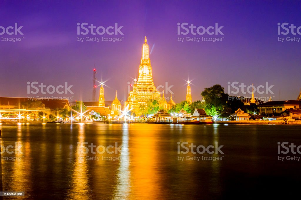 Thai Temple gold at the river side royalty-free stock photo