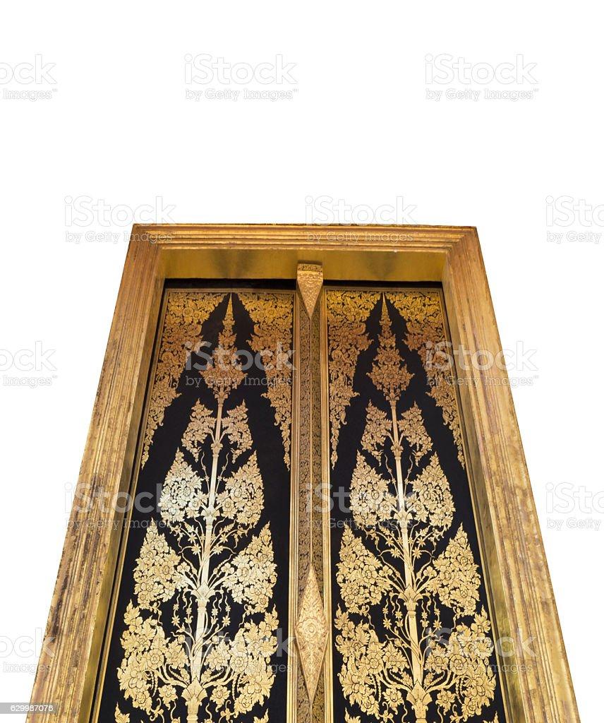 ... Thai Temple : Golden Door Art Isolated on White Background stock photo ...