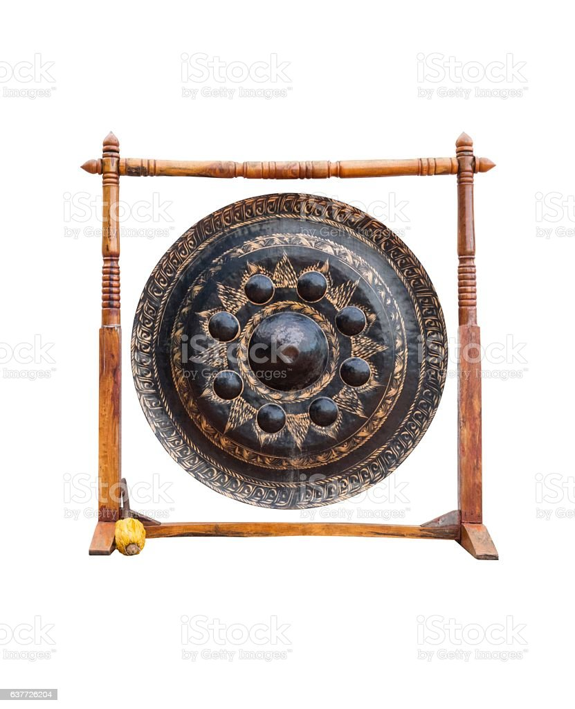 Thai Temple Gong Isolated on White Background stock photo