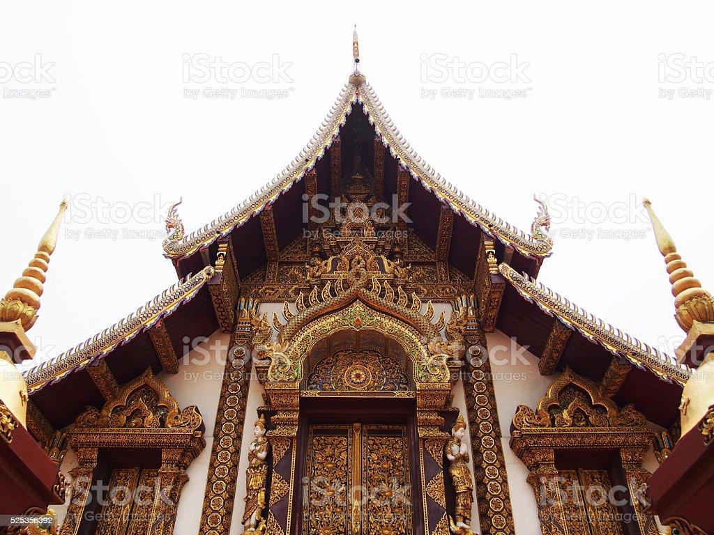 thai temple isolated on white background stock photo