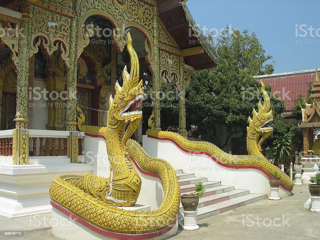 Thai Temple Nagas royalty-free stock photo