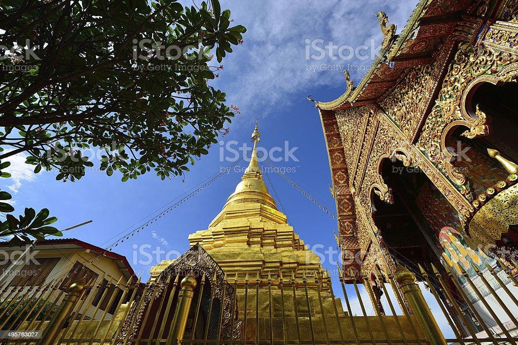Thai temple of buddhism stock photo