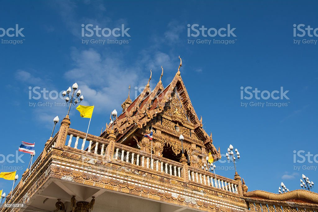 Thai Temple on clear day stock photo