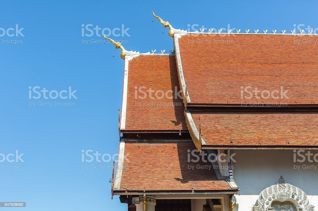 Thai temple roof detail stock photo
