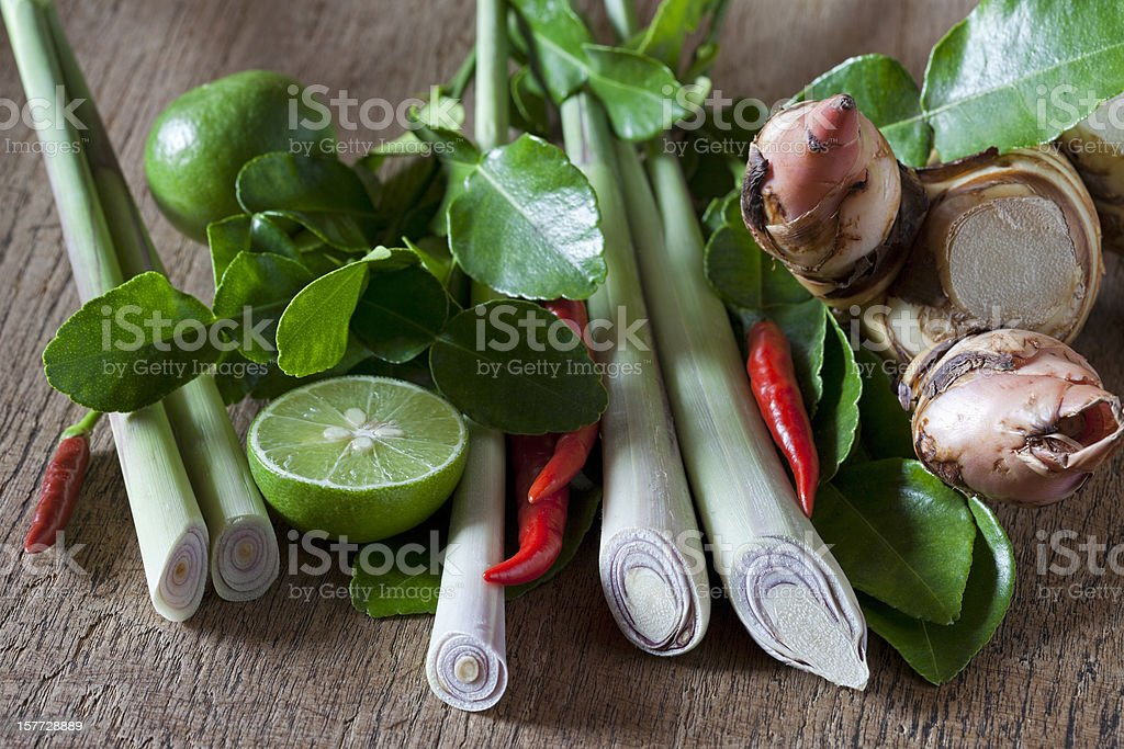 Thai Tom Yam soup herbs and spices. stock photo