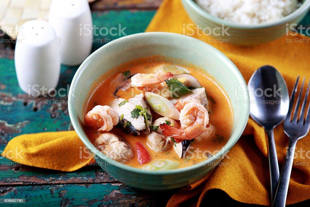 thai tom yam soup stock photo