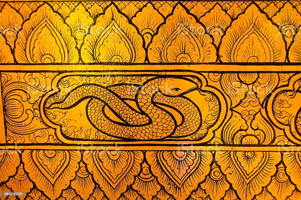 Thai tradional art snake stock photo