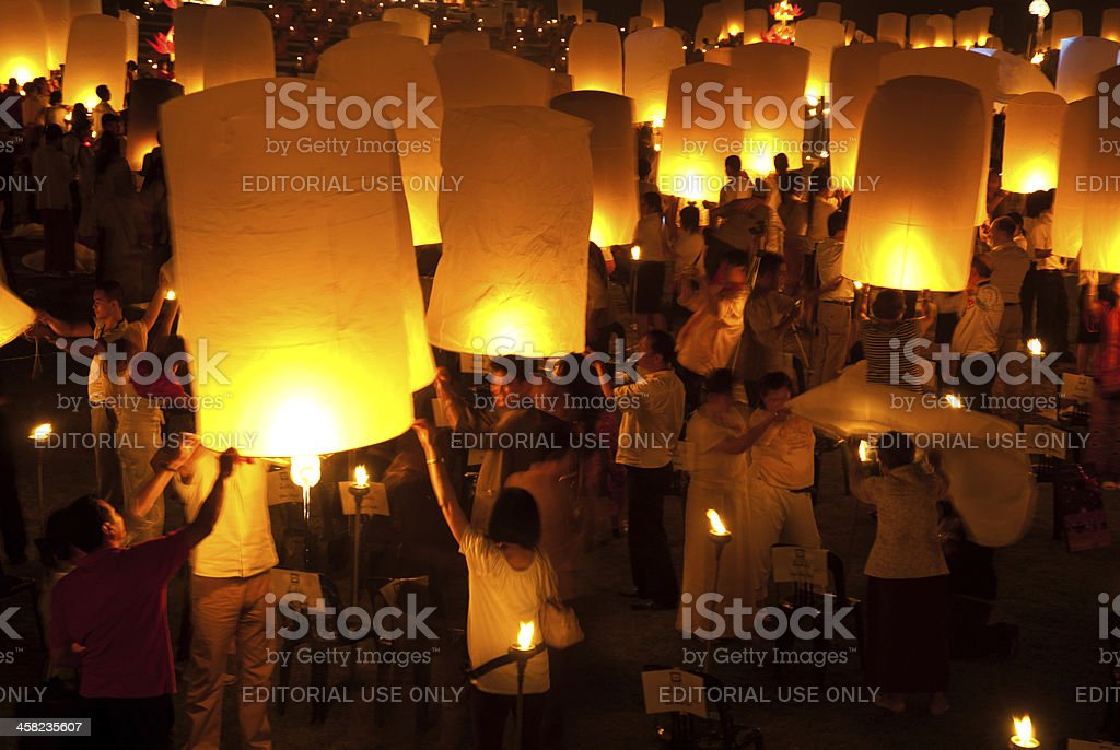 Thai traditional balloon lantern at night . royalty-free stock photo