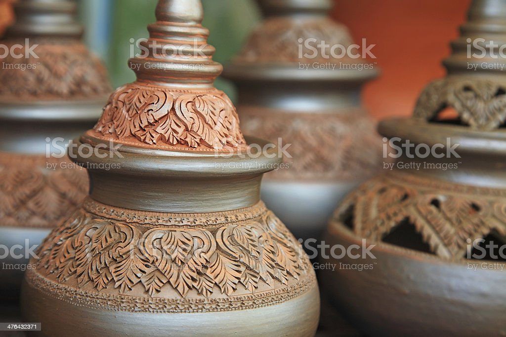 Thai traditional clay pottery royalty-free stock photo