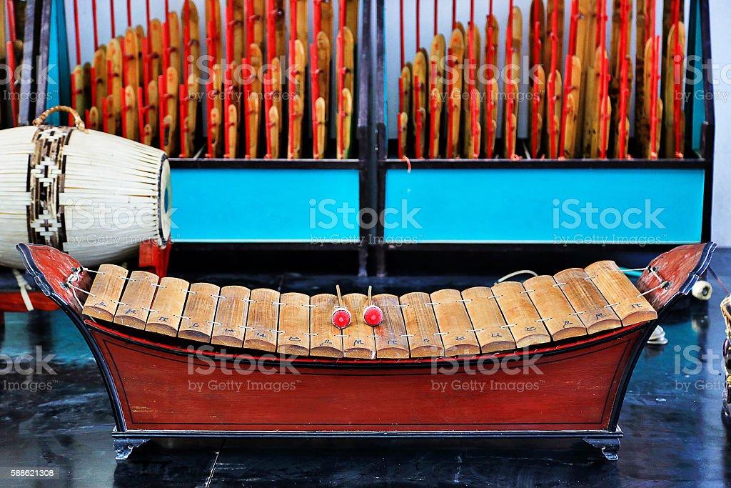 Thai traditional gamelan music instrument, Xylophone and drum sticks stock photo