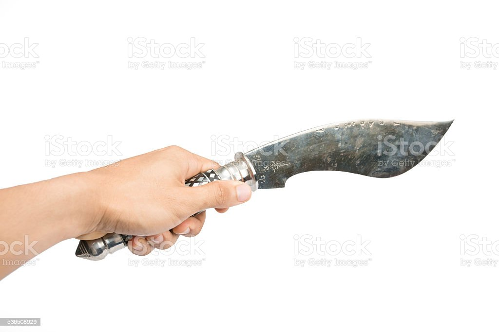 Thai traditional knife in hand stock photo