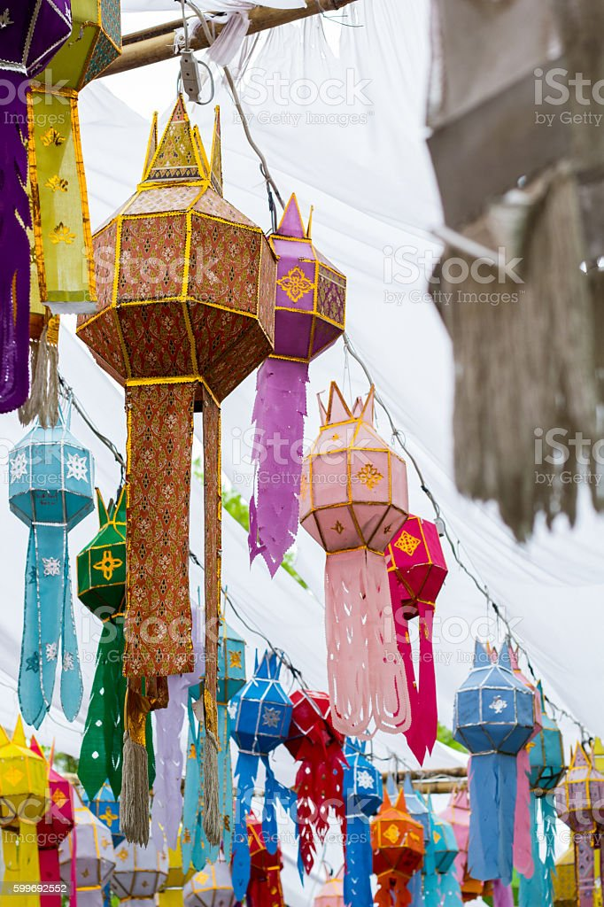 Thai traditional lamp stock photo