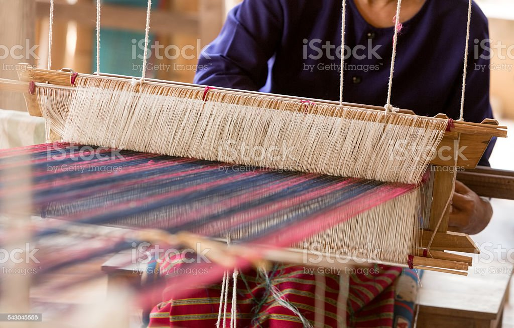 Thai traditional Weaving work stock photo