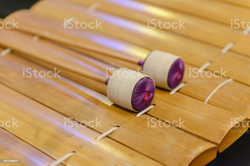 Thai Traditional wooden xylophone, Thai musical stock photo