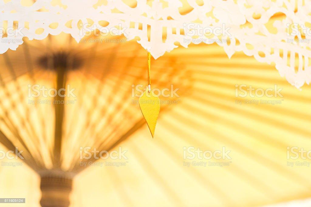Thai umbella decorate in wedding stock photo