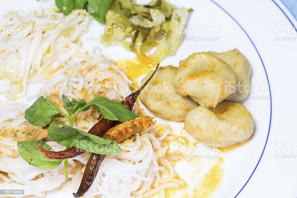 Thai vermicelli eaten with curry royalty-free stock photo
