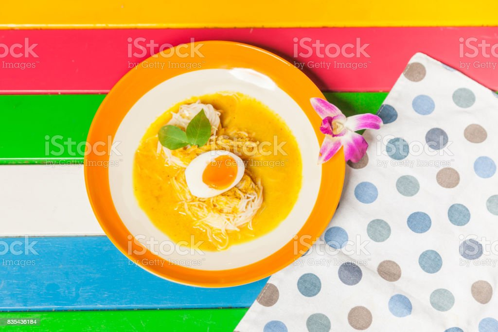 Thai vermicelli eaten with curry stock photo