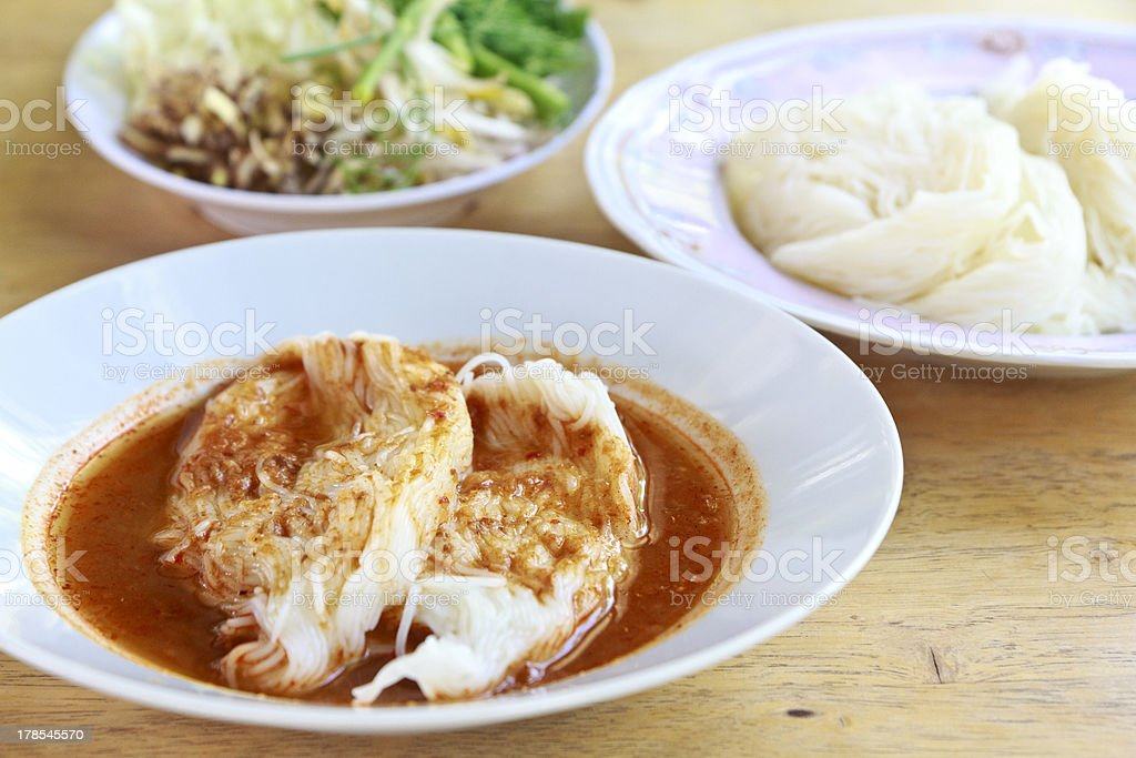 Thai Vermicelli Noodle Eaten with Curry royalty-free stock photo