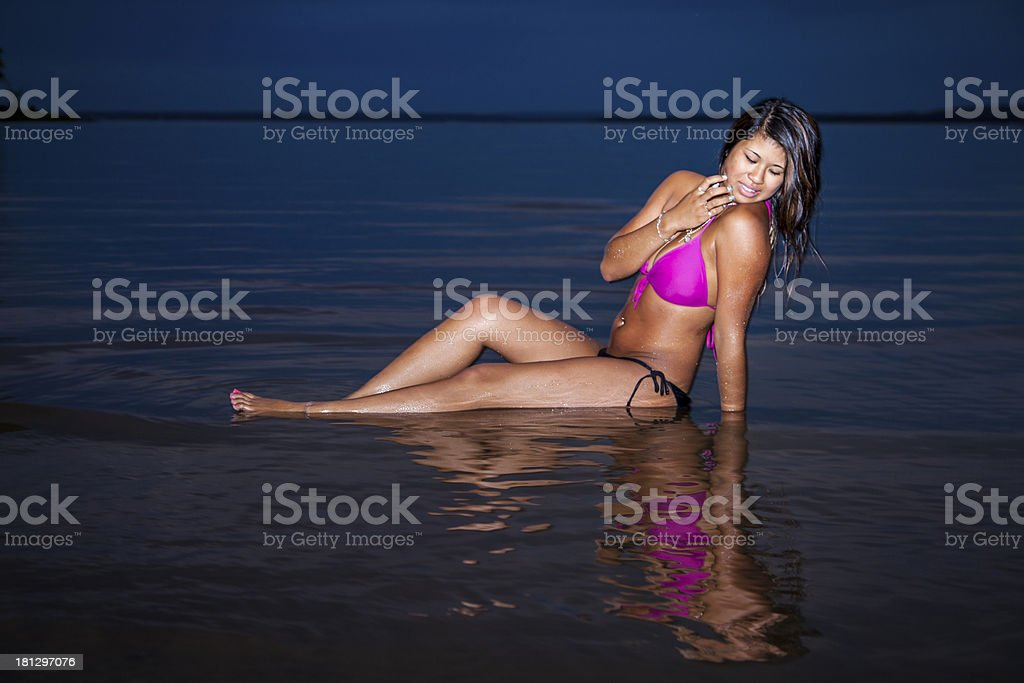 Thai woman at the beach royalty-free stock photo